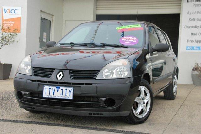 Used Renault Clio Authentique Wendouree, 2005 Renault Clio Authentique Black 5 Speed Manual Hatchback