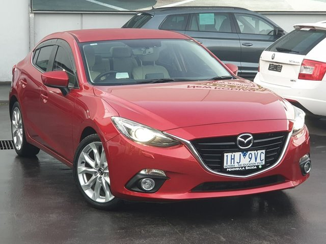 Used Mazda 3 BM5238 SP25 SKYACTIV-Drive GT Seaford, 2016 Mazda 3 BM5238 SP25 SKYACTIV-Drive GT Red 6 Speed Sports Automatic Sedan