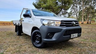 2019 Toyota Hilux TGN121R Workmate 4x2 White 5 Speed Manual Cab Chassis.