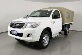 2015 Toyota Hilux KUN26R MY14 SR (4x4) White 5 Speed Automatic Cab Chassis.