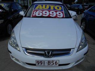 2005 Honda Accord 7th Gen V6 Luxury White 5 Speed Automatic Sedan.