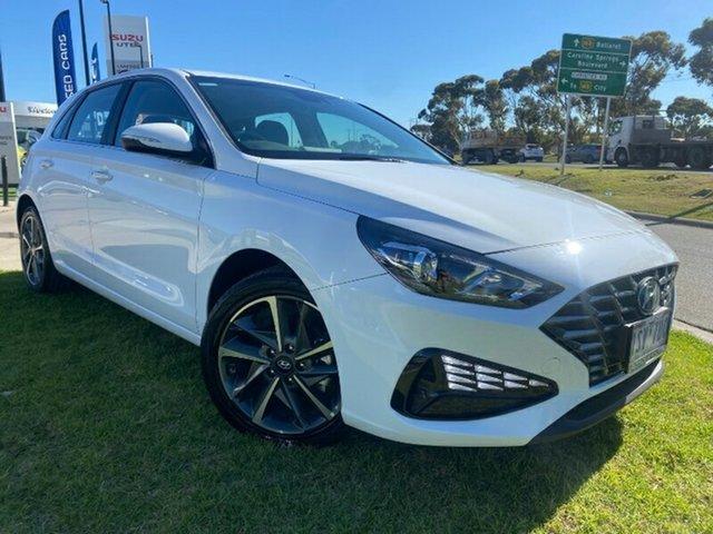 Demo Hyundai i30 PD.V4 MY21 Elite Ravenhall, 2020 Hyundai i30 PD.V4 MY21 Elite Polar White 6 Speed Sports Automatic Hatchback
