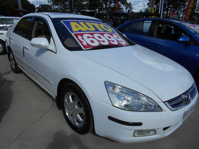 Used Honda Accord 7th Gen V6 Luxury Springwood, 2005 Honda Accord 7th Gen V6 Luxury White 5 Speed Automatic Sedan
