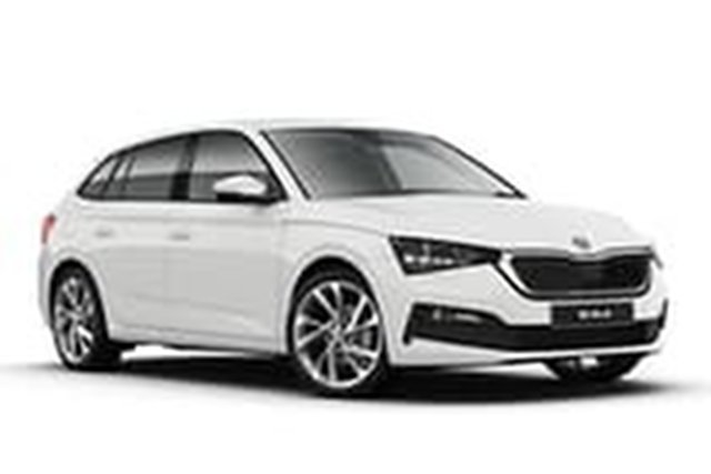 Demo Skoda Scala NW MY21 110TSI DSG Hamilton, 2020 Skoda Scala NW MY21 110TSI DSG Moon White 7 Speed Sports Automatic Dual Clutch Hatchback