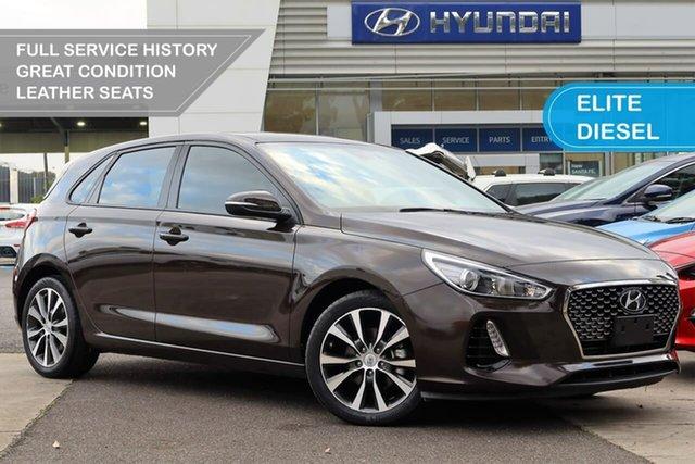 Used Hyundai i30 PD MY18 Elite D-CT South Melbourne, 2017 Hyundai i30 PD MY18 Elite D-CT Brown 7 Speed Sports Automatic Dual Clutch Hatchback