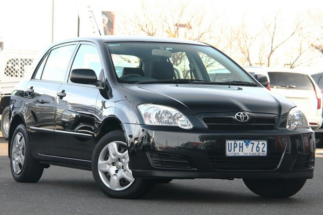 Used Toyota Corolla ZZE122R 5Y Ascent Essendon Fields, 2006 Toyota Corolla ZZE122R 5Y Ascent Black 4 Speed Automatic Hatchback
