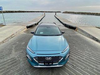 2020 Hyundai Kona OS.3 MY20 Highlander 2WD Cermaic Blue Ttr/bla 6 Speed Sports Automatic Wagon.