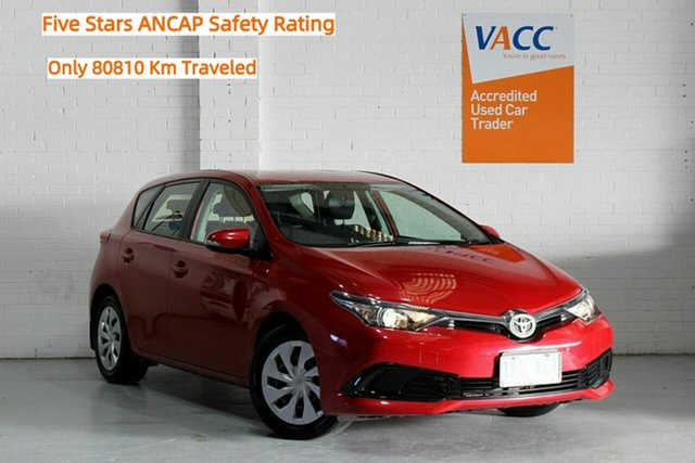 Used Toyota Corolla ZRE182R Ascent S-CVT Moorabbin, 2017 Toyota Corolla ZRE182R Ascent S-CVT Red 7 Speed Constant Variable Hatchback