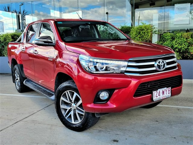 Used Toyota Hilux GUN126R SR5 Double Cab Beaudesert, 2016 Toyota Hilux GUN126R SR5 Double Cab Red 6 Speed Sports Automatic Utility