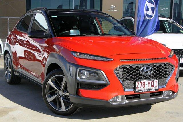Used Hyundai Kona OS.2 MY19 Highlander 2WD Aspley, 2018 Hyundai Kona OS.2 MY19 Highlander 2WD Orange 6 Speed Sports Automatic Wagon