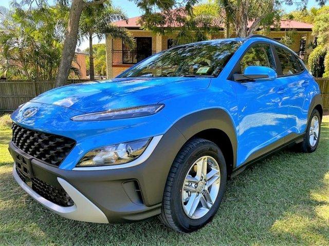 Demo Hyundai Kona Os.v4 MY21 2WD Springwood, 2021 Hyundai Kona Os.v4 MY21 2WD Surfy Blue 8 Speed Constant Variable Wagon