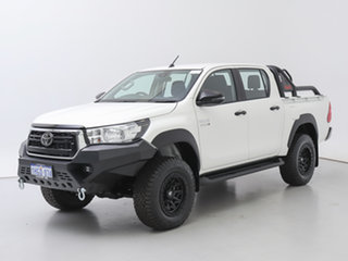 2020 Toyota Hilux GUN126R MY19 Upgrade SR (4x4) White 6 Speed Manual Double Cab Chassis.