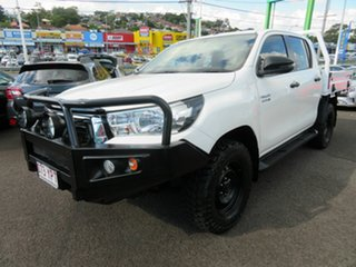 2018 Toyota Hilux GUN126R SR Double Cab White 6 Speed Sports Automatic Cab Chassis.