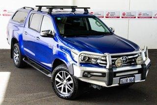 2017 Toyota Hilux GUN126R SR5 (4x4) Nebula Blue 6 Speed Automatic Dual Cab Utility.