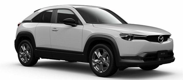 Demo Mazda MX-30 DR2W7A G20e SKYACTIV-Drive Evolve Mornington, 2021 Mazda MX-30 DR2W7A G20e SKYACTIV-Drive Evolve Arctic White 6 Speed Sports Automatic Wagon