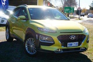 2017 Hyundai Kona OS MY18 Elite D-CT AWD Acid Yellow 7 Speed Sports Automatic Dual Clutch Wagon.