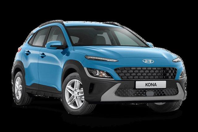 Demo Hyundai Kona Os.v4 MY21 2WD Hamilton, 2021 Hyundai Kona Os.v4 MY21 2WD Surfy Blue 8 Speed Constant Variable Wagon
