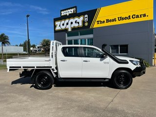 2017 Toyota Hilux GUN126R SR Double Cab White/300517 6 Speed Sports Automatic Cab Chassis.