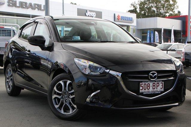 Used Mazda 2 DL2SAA GT SKYACTIV-Drive Aspley, 2018 Mazda 2 DL2SAA GT SKYACTIV-Drive Black 6 Speed Sports Automatic Sedan