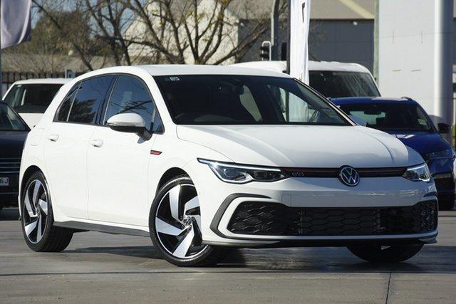 New Volkswagen Golf 8 MY21 GTI DSG Botany, 2021 Volkswagen Golf 8 MY21 GTI DSG Pure White 7 Speed Sports Automatic Dual Clutch Hatchback
