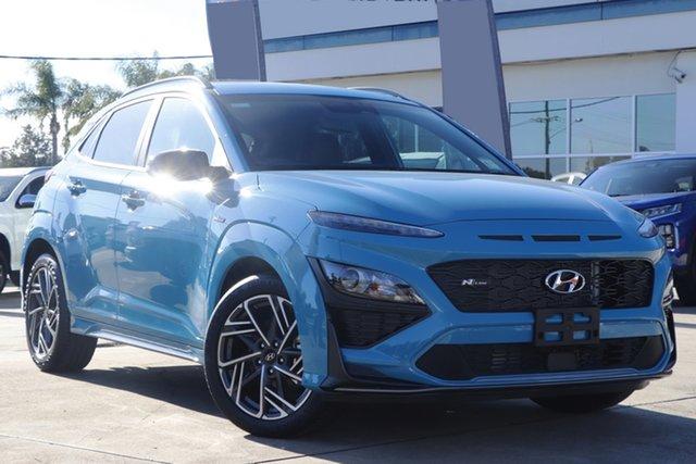 New Hyundai Kona Os.v4 MY21 N-Line D-CT AWD Premium Epsom, 2021 Hyundai Kona Os.v4 MY21 N-Line D-CT AWD Premium Surfy Blue 7 Speed Sports Automatic Dual Clutch