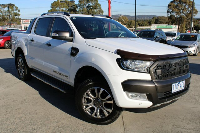 Used Ford Ranger PX MkII 2018.00MY Wildtrak Double Cab Ferntree Gully, 2018 Ford Ranger PX MkII 2018.00MY Wildtrak Double Cab White 6 Speed Manual Utility
