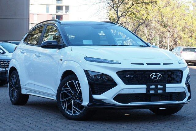 New Hyundai Kona Os.v4 MY21 N-Line D-CT AWD Premium Tuggerah, 2021 Hyundai Kona Os.v4 MY21 N-Line D-CT AWD Premium Atlas White & Black Roof 7 Speed