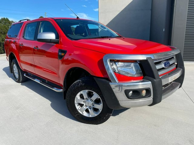 Used Ford Ranger PX XLS Double Cab Cooroy, 2013 Ford Ranger PX XLS Double Cab Red 6 Speed Manual Utility