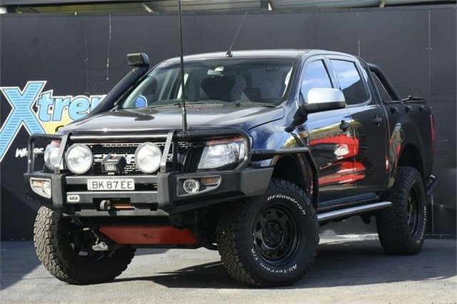 Used Ford Ranger PX XLS Double Cab Campbelltown, 2014 Ford Ranger PX XLS Double Cab Black 6 Speed Manual Utility