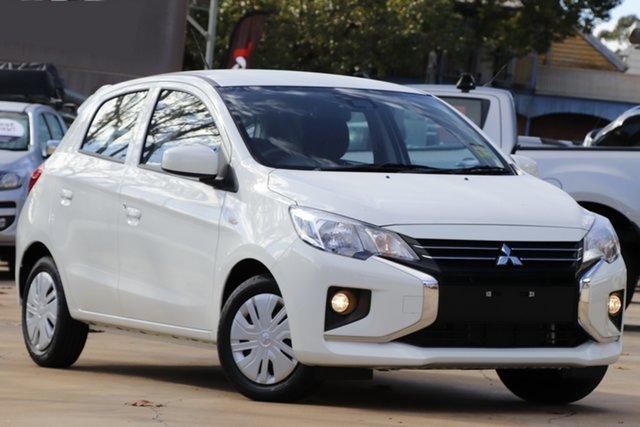 Demo Mitsubishi Mirage LB MY22 ES Toowoomba, 2021 Mitsubishi Mirage LB MY22 ES White 1 Speed Constant Variable Hatchback