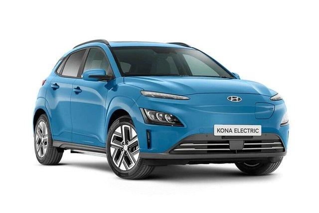 New Hyundai Kona Os.v4 MY21 electric Highlander Nailsworth, 2021 Hyundai Kona Os.v4 MY21 electric Highlander Surfy Blue 1 Speed Reduction Gear Wagon