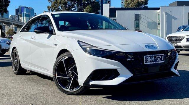 Demo Hyundai i30 CN7.V1 MY21 N Line D-CT South Melbourne, 2021 Hyundai i30 CN7.V1 MY21 N Line D-CT Polar White 7 Speed Sports Automatic Dual Clutch Sedan