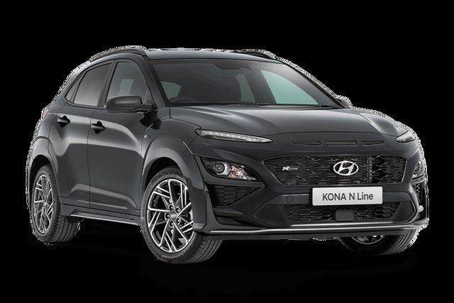 Demo Hyundai Kona Os.v4 MY21 N-Line D-CT AWD Hamilton, 2021 Hyundai Kona Os.v4 MY21 N-Line D-CT AWD Dark Knight 7 Speed Sports Automatic Dual Clutch Wagon