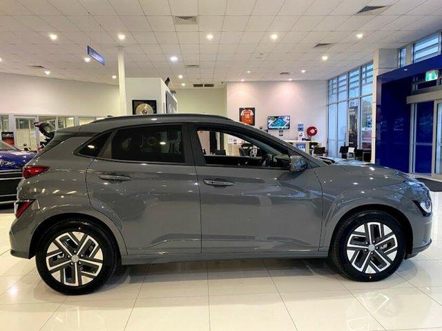 Demo Hyundai Kona Os.v4 MY21 electric Highlander Mount Gravatt, 2021 Hyundai Kona Os.v4 MY21 electric Highlander Galactic Grey 1 Speed Reduction Gear Wagon