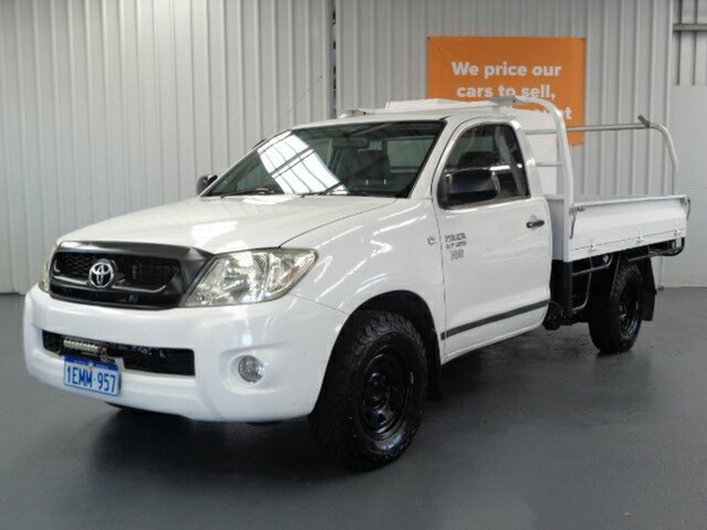 Used Toyota Hilux TGN16R MY10 Workmate 4x2 Rockingham, 2010 Toyota Hilux TGN16R MY10 Workmate 4x2 White 5 Speed Manual Cab Chassis