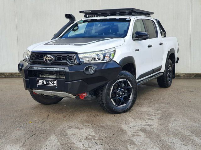 Used Toyota Hilux GUN126R Rugged X Double Cab Oakleigh, 2019 Toyota Hilux GUN126R Rugged X Double Cab White 6 Speed Manual Utility