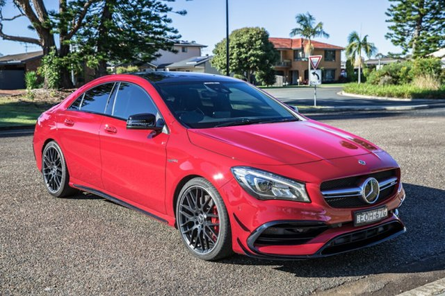 Used Mercedes-Benz CLA-Class C117 808+058MY CLA45 AMG SPEEDSHIFT DCT 4MATIC Port Macquarie, 2018 Mercedes-Benz CLA-Class C117 808+058MY CLA45 AMG SPEEDSHIFT DCT 4MATIC Jupiter Red 7 Speed