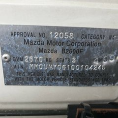 1999 Mazda Bravo B2600 DX 4x2 White 5 Speed Manual Cab Chassis