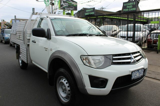 Used Mitsubishi Triton MN MY13 GLX West Footscray, 2012 Mitsubishi Triton MN MY13 GLX White 5 Speed Manual Cab Chassis