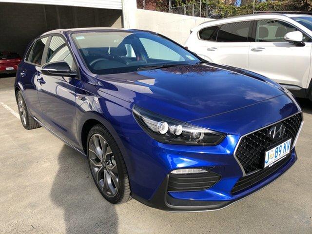 Demo Hyundai i30 PD.V4 MY21 N Line D-CT Hobart, 2020 Hyundai i30 PD.V4 MY21 N Line D-CT Intense Blue 7 Speed Sports Automatic Dual Clutch Hatchback