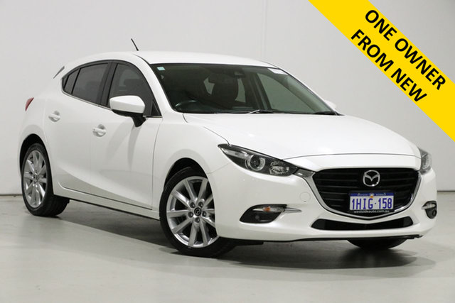 Used Mazda 3 BN MY18 SP25 Bentley, 2018 Mazda 3 BN MY18 SP25 Pearl White 6 Speed Automatic Hatchback