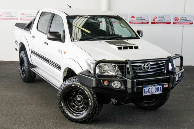 Pre-Owned Toyota Hilux KUN26R MY14 SR (4x4) Rockingham, 2014 Toyota Hilux KUN26R MY14 SR (4x4) Glacier White 5 Speed Automatic Double Cab Chassis