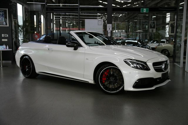 Used Mercedes-Benz C-Class A205 C63 AMG SPEEDSHIFT MCT S North Melbourne, 2016 Mercedes-Benz C-Class A205 C63 AMG SPEEDSHIFT MCT S White 7 Speed Sports Automatic Cabriolet