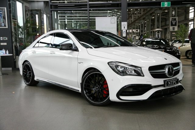 Used Mercedes-Benz CLA-Class C117 809MY CLA45 AMG SPEEDSHIFT DCT 4MATIC North Melbourne, 2018 Mercedes-Benz CLA-Class C117 809MY CLA45 AMG SPEEDSHIFT DCT 4MATIC White 7 Speed