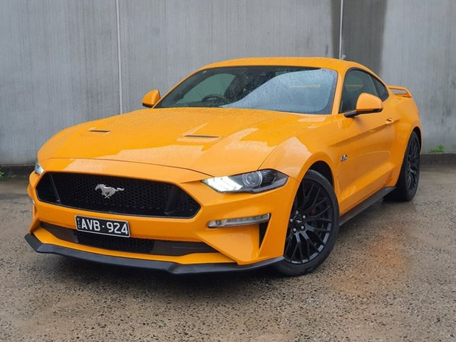 Used Ford Mustang FN 2018MY GT Fastback SelectShift Oakleigh, 2018 Ford Mustang FN 2018MY GT Fastback SelectShift Orange 10 Speed Sports Automatic Fastback