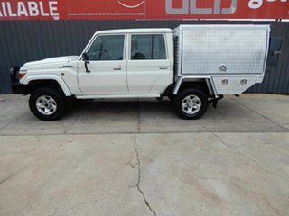 2017 Toyota Landcruiser VDJ79R GXL Double Cab White 5 Speed Manual Cab Chassis.