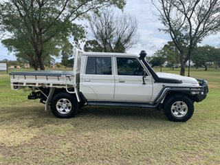 2017 Toyota Landcruiser VDJ79R GXL Double Cab French Vanilla 5 Speed Manual Cab Chassis.
