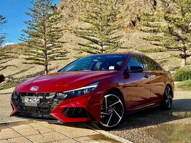 Demo Hyundai i30 CN7.V1 MY21 N Line Premium Reynella, 2021 Hyundai i30 CN7.V1 MY21 N Line Premium Fiery Red 7 Speed Auto Dual Clutch Sedan