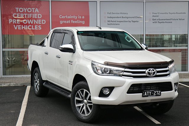 Pre-Owned Toyota Hilux GUN126R SR5 Double Cab South Morang, 2018 Toyota Hilux GUN126R SR5 Double Cab Crystal Pearl 6 Speed Sports Automatic Utility