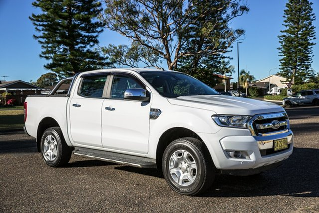 Used Ford Ranger PX MkII 2018.00MY XLT Double Cab Port Macquarie, 2018 Ford Ranger PX MkII 2018.00MY XLT Double Cab White 6 Speed Sports Automatic Utility